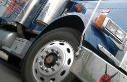 tire and headlight of big rig